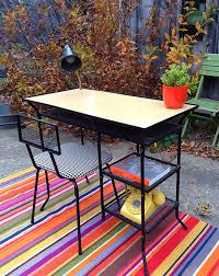 metal desk with laminate top mid century metal desk 1950 s blonde woodgrain laminate top loroman