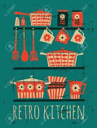affiche cuisine retro affiche avec des articles de cuisine dans le style rétro clip
