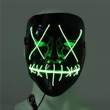 scary mask led light up flash el wire dj party raver scary mask