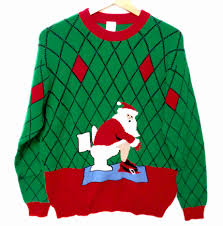 pooping santa very tacky ugly christmas sweater the ugly sweater