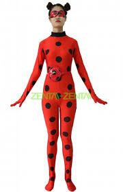ladybug costume miraculous ladybug printed spandex lycra costume with eye mask and