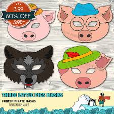 60 sale pigs printable masks big bad