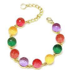 bangle bracelet beads images Colorful candy color crystal beads gold plated adjustable bangle jpg