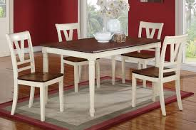 Cherry Wood Dining Room Set by Poundex 5 Piece Dining Table Set In Cream Cherry Finish F2391