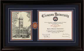 clemson diploma frame joe tillman 101 clemsonframeshop