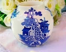 Ginger Jar Vase Blue Willow Vase Etsy