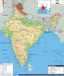 Map Of India And Nepal by Physical Map Of India Ezilon Maps