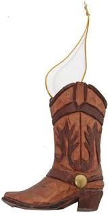western boot ornament carved of wood home