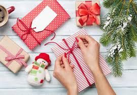 wrapped christmas boxes wrapping christmas gifts stock photo karandaev