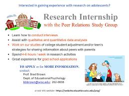 research intern become a research intern peer relations study