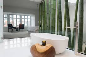 modern old world bathroom design with white floor and oval shape