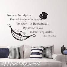 mad world alice in wonderland smile quote wall art stickers decal alice in wonderland smile quote 57 100w