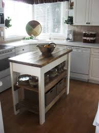 small kitchen island table with butcher block tops and two bottom