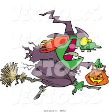 vector of a cartoon witch flying on broom with pumpkin container