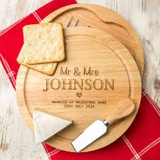 Wedding Gift Set Personalised Wedding Cheese Board And Knife Set By Dust And Things