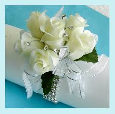 White Rose Wrist Corsage Wedding Or Prom Corsage With Jewel Rhinestone Spray Accents