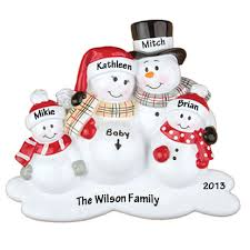 expecting snowman family with two children personalized