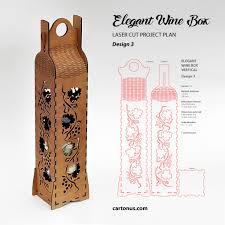 elegant wine box vertical lasercut vector model project plan