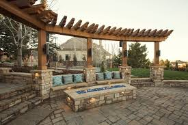 square fire pit patio traditional with wood pergola fire pit