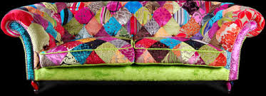 Multi Coloured Upholstery Fabric Patchwork Sofa From Ginny Avison Designs Ltd