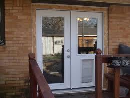backyards installing exterior door with built pet latest design