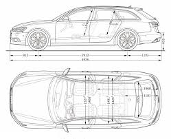dimension audi a6 2012 audi a6 avant side and top dimensions vw drawings