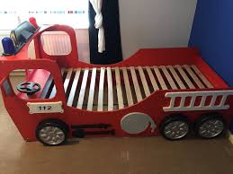 Fire Engine Bed Children S Fire Engine Bed Red With Headlights And Steering Wheel
