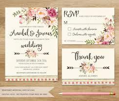 bohemian wedding invitations floral wedding invitation printable wedding invitation rustic