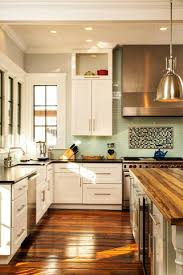 decor walnut butcher block countertop with white cabinets for