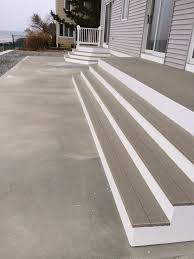 composite decking and pvc wrap u0026 risers on wrap around stair deck