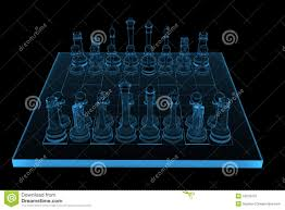 3d rendered blue xray chess stock photography image 19276472