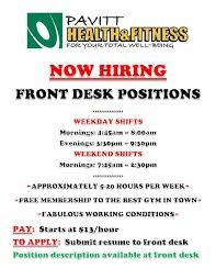 front desk jobs hiring now now hiring front desk pavitt health fitness