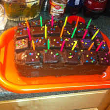 cosmic brownie birthday cake two layers of devils food cake and