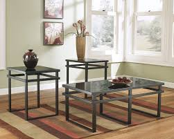 Occasional Table And Chairs Amazon Com Lane 3pc Black Metal And Glass Coffee End Table Set