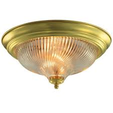 brass flush mount light hton bay 13 in 2 light polished brass flushmount with frosted
