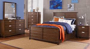 bay street brown 5 pc twin panel bedroom teen bedroom sets dark wood