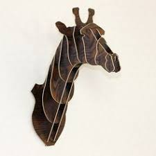 wooden animal wall ornament elephant ah001 black
