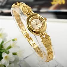 gold ladies bracelet watches images Women bracelet watch mujer golden relojes small dial quartz jpg