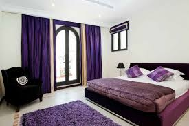 light gray bedroom wall color mixed purple satin curtains panel of