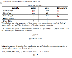 ratio tables worksheets with answers ill the following table with the parameters of you chegg com