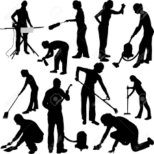 Inhouse Man And Woman Cleaning In House Vector Royalty Free Cliparts