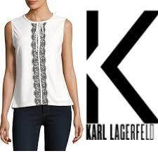 sleeveless ruffle blouse 83 karl lagerfeld tops nwt karl lagerfeld sleeveless ruffle