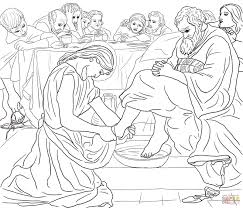 jesus washing the disciples feet coloring page free printable