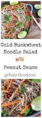 cold buckwheat noodle salad with peanut sauce