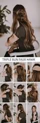 triple bun faux hawk half up do hairstyle tutorial night