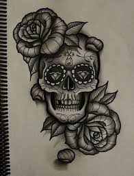 drawn tattoo skull pencil and in color drawn tattoo skull
