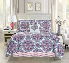 Blue And White Comforters Piece Medallion Floral Red Blue White Comforter Set