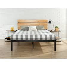 full size metal platform bed frame with wood slats and headboard