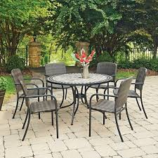 Patio Table And 6 Chairs Marble Top 7 Pc Outdoor Dining Table 6 Chairs By Home