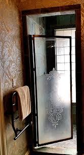 etched glass shower door designs etched glass shower door enclosure ferns anthurium design